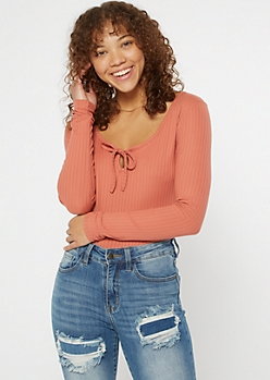 Coral Pink Super Soft Keyhole Cutout Top