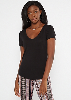 Black Pocket V Neck Favorite Tee