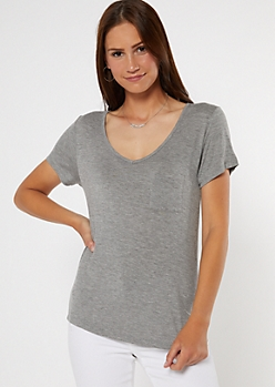 Heather Gray Pocket V Neck Favorite Tee