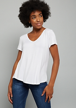 White Favorite Super Soft V Neck Tee