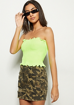 982d5dac67a Neon Yellow Smocked Tube Crop Top