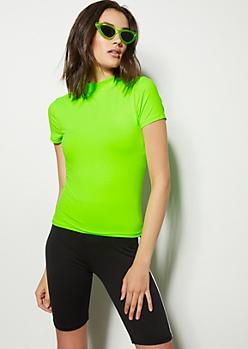 Neon Green Super Soft Mock Neck Tee