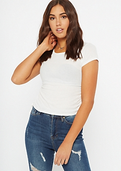 Ivory Side Tie Ruched Tee