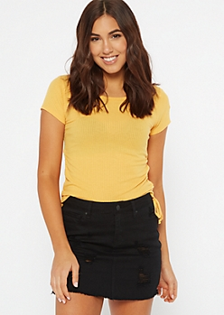 Mustard Side Tie Ruched Tee