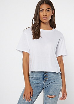 White Rolled Sleeve Raw Cut Tee
