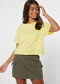 Yellow Rolled Sleeve Raw Cut Tee