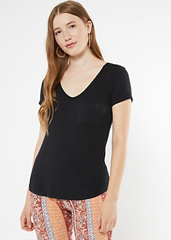 Black V Neck Pocket Tee