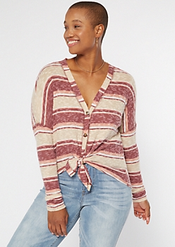 Pink Striped Ribbed Knit Button Down Top
