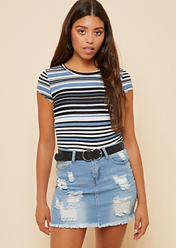 Blue Striped Cap Sleeve Ribbed Knit Tee