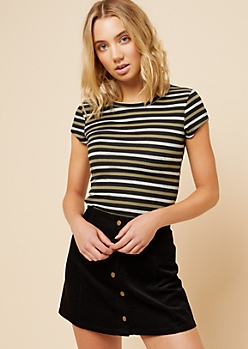 Olive Striped Cap Sleeve Ribbed Knit Tee