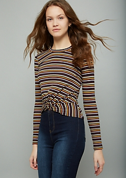Olive Green Striped Long Sleeve Knot Front Tee
