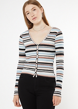 Blue Striped Super Soft Ribbed Knit Cardigan