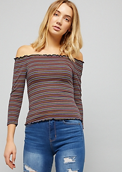 Navy Striped Off The Shoulder Ribbed Knit Top