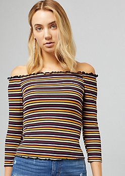 Mustard Striped Off The Shoulder Ribbed Knit Top
