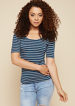 Teal Striped Scoop Neck Fitted Tee