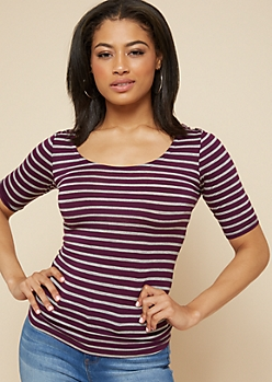 Dark Purple Striped Scoop Neck Fitted Tee