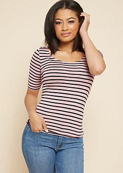 Light Purple Striped Scoop Neck Fitted Tee