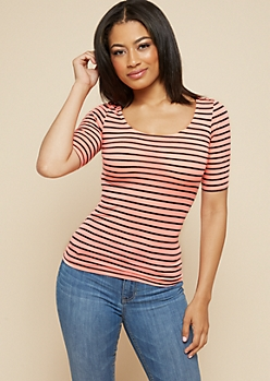 Bright Pink Striped Scoop Neck Fitted Tee