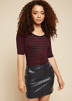 Black Striped Scoop Neck Fitted Ringer Tee