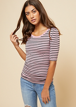 Pink Striped Scoop Neck Fitted Ringer Tee