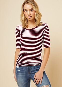 Burgundy Striped Scoop Neck Fitted Ringer Tee