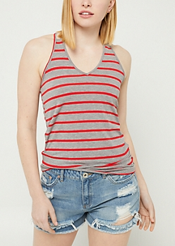 Gray Striped Strappy O Ring Tank Top