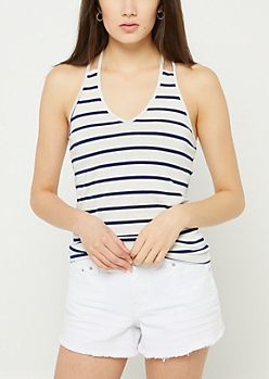 White Striped Strappy O Ring Tank Top
