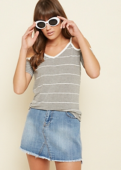 Gray Striped Cold Shoulder V Neck Tee