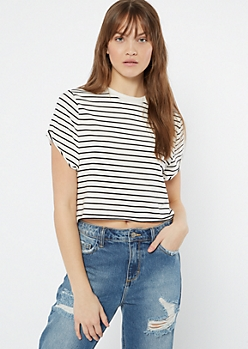 White Striped Essential Crop Top