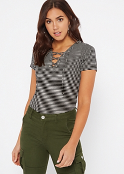 Black Striped Ribbed Knit Lace Up Top