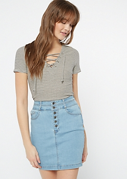 White Striped Ribbed Knit Lace Up Top