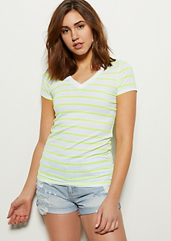 White Neon Striped V Neck Favorite Tee