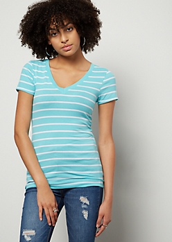 Teal Striped V Neck Favorite Tee