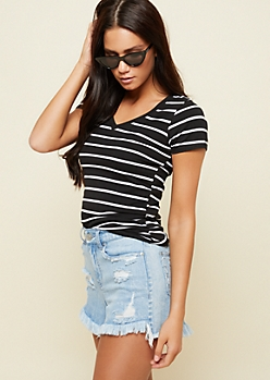 Black Striped V Neck Basic Tee