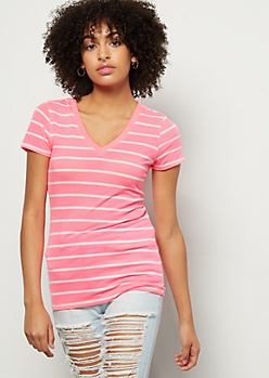 Neon Pink Striped V Neck Favorite Tee