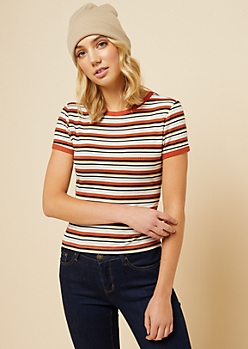 Burnt Orange Striped Ribbed Knit Fitted Ringer Tee