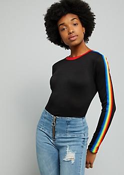 Black Rainbow Striped Long Sleeve Tee