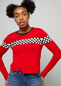 Red Checkered Print Long Sleeve Skimmer Tee