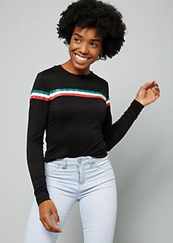 Black Thin Varsity Striped Long Sleeve Tee