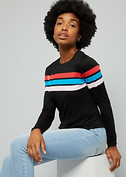 Black Thick Varsity Striped Long Sleeve Tee