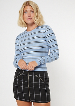 Blue Striped Ribbed Knit Long Sleeve Top