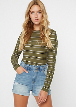 Olive Striped Ribbed Knit Long Sleeve Top
