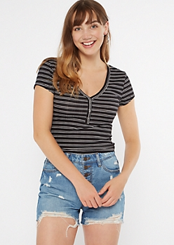 Black Striped Snap Neck Henley Tee