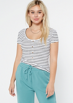 White Striped Ribbed Button Tee