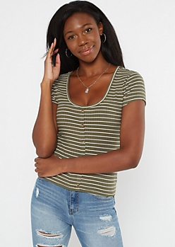 Olive Striped Ribbed Button Tee