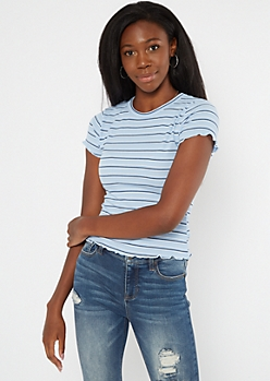 Blue Striped Ribbed Lettuce Edge Tee