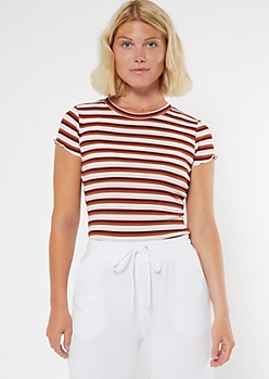 Burgundy Striped Ribbed Lettuce Edge Tee