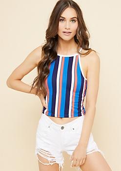 Blue Vertical Striped Super Soft Cropped Tank Top
