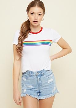 White Rainbow Striped Chest Skimmer Tee