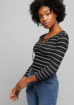 Black Striped Super Soft Lace Up Elbow Sleeve Tee